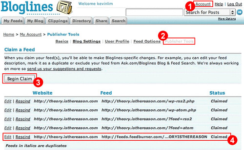 Using Bloglines' Publisher Tools to Improve your FeedCount