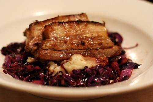 Fennel Roasted Pork Belly on Parmesan Mash with Caramelised Red Cabbage