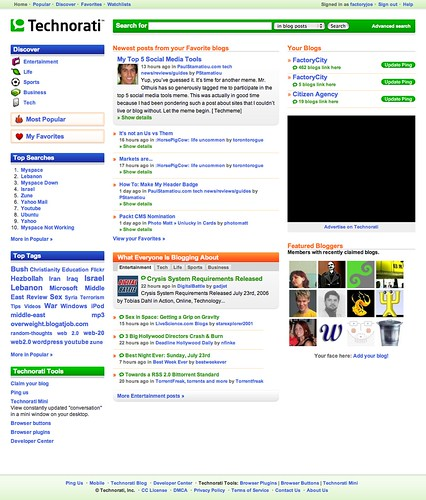 Technorati Redesigns