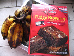 Ingredients for fudge banana brownies