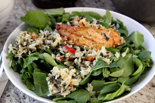 Rosemary Chicken & Rice over Spinach