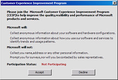 Customer Experience Improvement Program Dialog