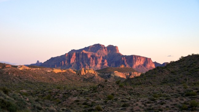 Superstition Mountains at sunset