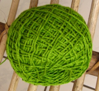 Green knitting cotton