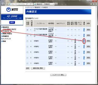 「内線設定」画面で IP 端末の「編集」をクリックする