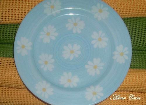 Descobri meus pratinhos na cozinha como são azuis e com flores amarelinhas