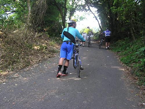 這條通往玉瀧谷的捷徑,坡度非常坡,騎到單車龍頭都翹起,只好下馬牽車