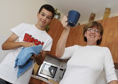 Yvonne Gourlay and her son Gerald in their new home