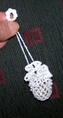 Close up of Beaded Thimble Bag