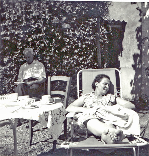 My parents in our Deauville garden in the 50s