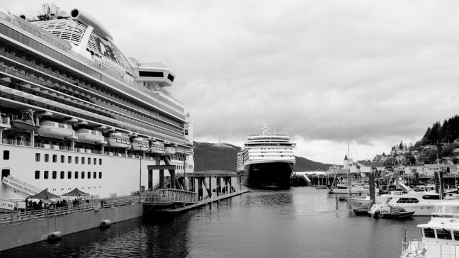 Enormous cruise ships in Ketchikan