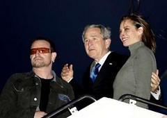 Bono, el Presidente Bush y Christy Turlington
