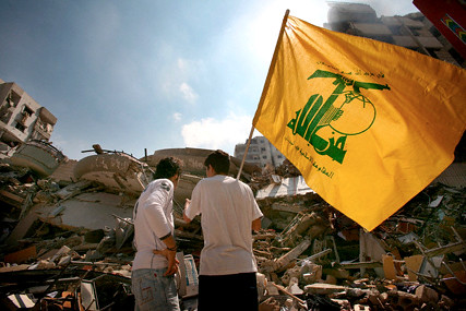 Two young men viewing destruction in Haret Hreik 15 Aug 2006