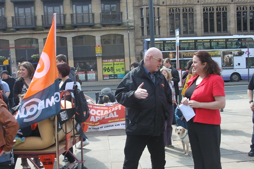 Karen Bruce and Elmet and Rothwell GMB member Bob Dyson at the Leeds aganist the bedroom tax rally