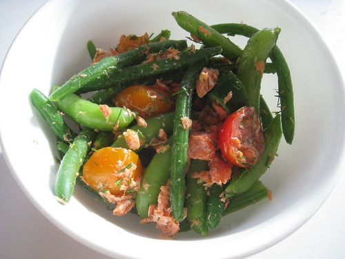 Roasted Salmon, Bean, Snap Pea and Tomato Salad