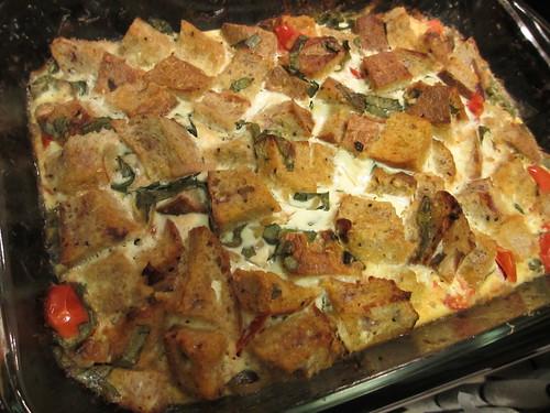 Tomato-Basil Bread Pudding