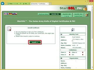 Install Certificate で「Install ≫≫」ボタンをクリックすると個人証明書のインストールが始まる