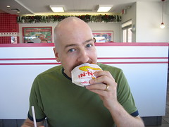 Troy enjoying In-N-Out Burger