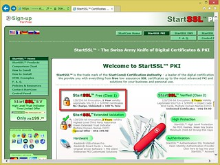 StartSSL のホームページで「StartSSL Free (Class 1)」と書かれた箇所をクリックする