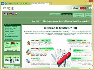 StartSSL のホームページ