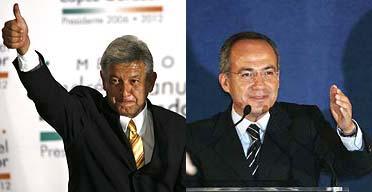 López Obrador candidato del PRD y Felipe Calderón candidato del PAN
