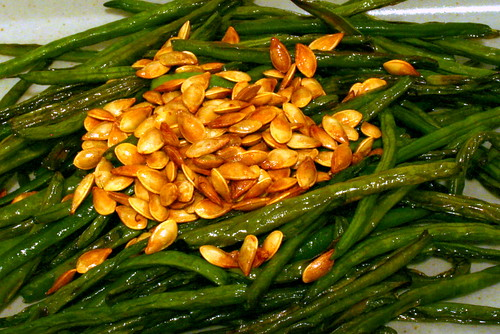 roasted haricot vert, toasted acorn squash seeds