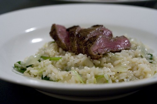 Fennel, Lime & Tatsoi Risotto with Rare Spiced Lamb