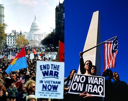 left Anti-Vietnam War Protest Washington 1969 right Anti-Iraq Protest Washington 15 March 2003