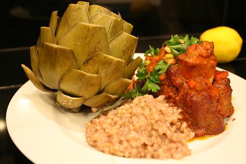 artichoke, osso bucco with toasted pine nut gremolata...and farro risotto