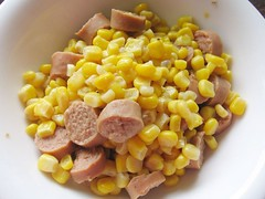 corn and sausages
