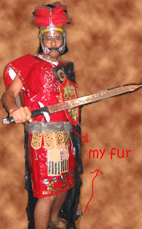 Costume from recycled materials including kingsey's fur