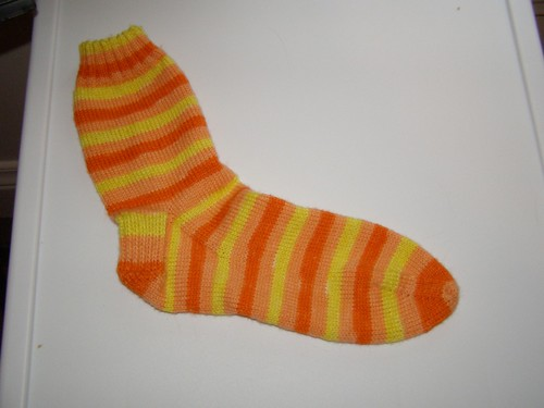 Candy Corn sock #1 is complete!