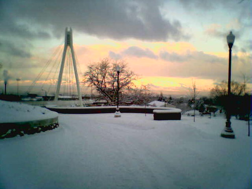 Snowy Sunset Fort Douglas Bridge