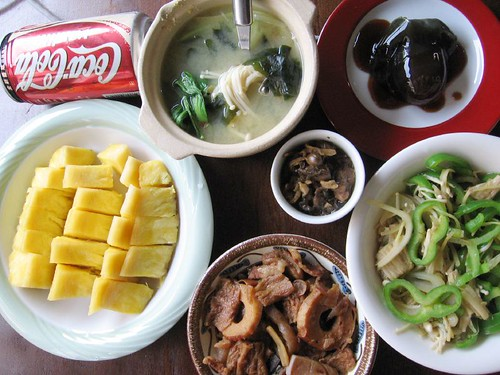 vanilla coke, pineapples, bamboo, soup, green peppers, century egg, oysters