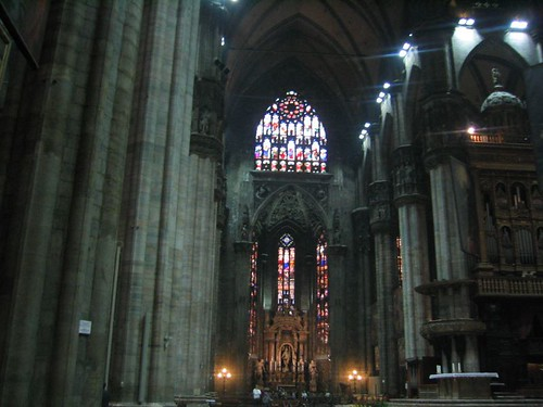 Inside the Duomo in Milan