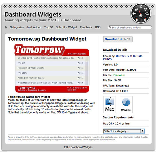 Tomorrow.sg dashboard widget submitted to Apple