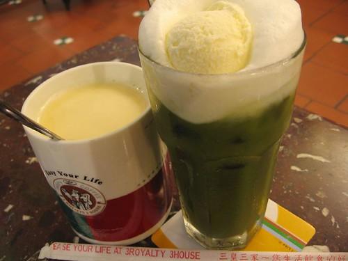 milk tea and macha green tea latte + vanilla ice cream