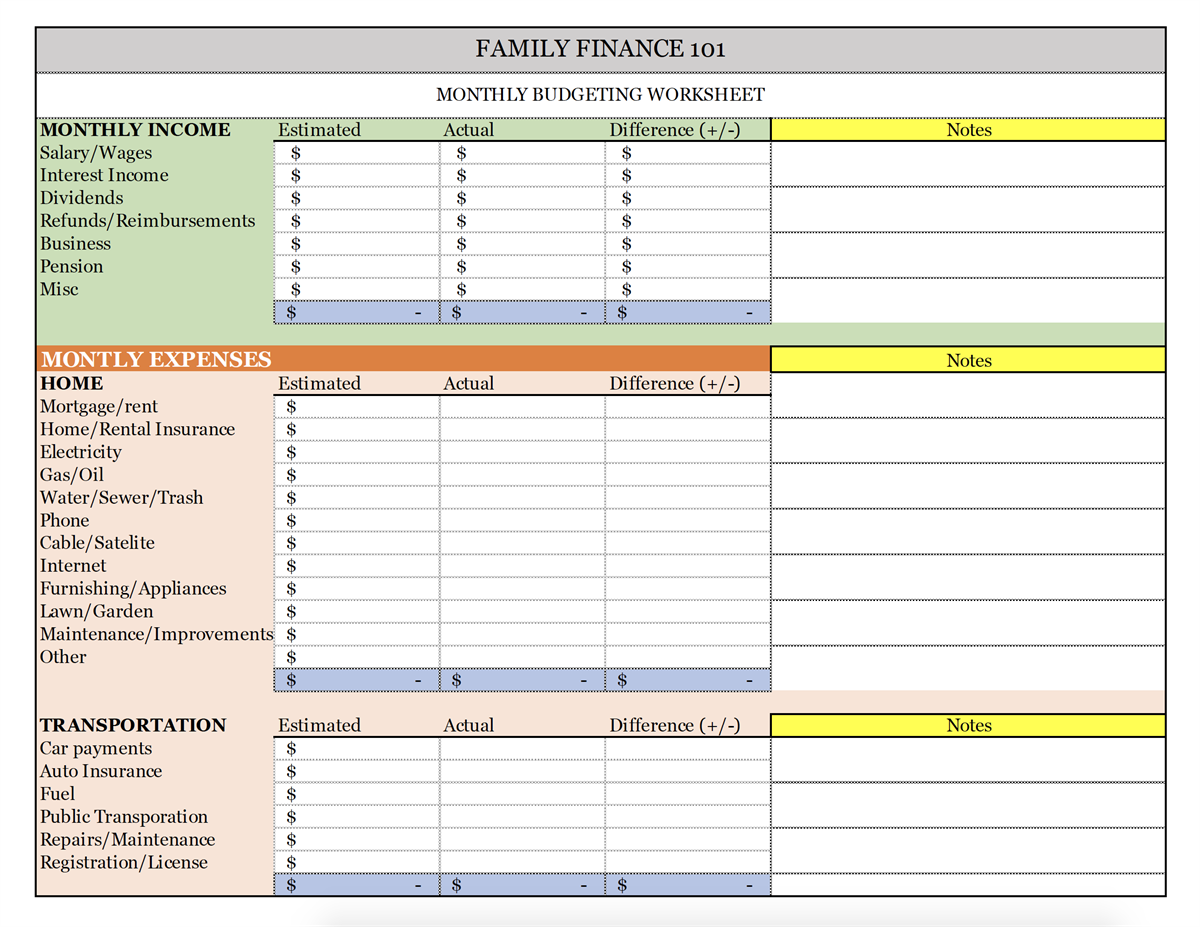 Income Vs Expenses Worksheet