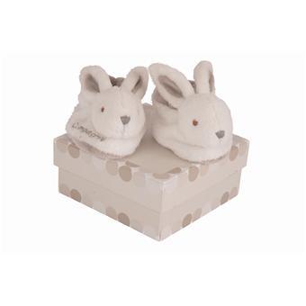doudou et compagnie lapin bonbon chaussons avec hochet taupe