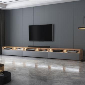 meuble tv rednaw 300 cm chene wotan gris brillant avec led style scandinave