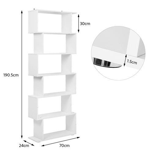 bibliotheque etagere d angle a six niveaux forme s couleur blanc