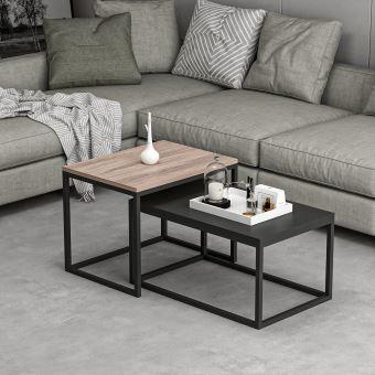 homemania table basse leka compacte modulable pour salon canape noyer noir en bois metal 60 x 47 x 45 cm