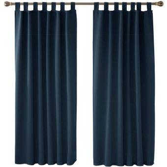 deconovo lot de 2 rideaux occultants a pattes 140x175cm isolant thermique pour velux bleu marine