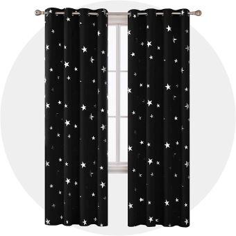 deconovo lot de 2 rideaux salon occultants rideaux motif etoile argente isolant thermique a oeillet 140x260cm noir
