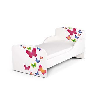 moderne lit d enfant toddler 140 70 cm motif decoration papillons colores un lit pour une fille avec matelas lit papillons pour enfants bois blanc