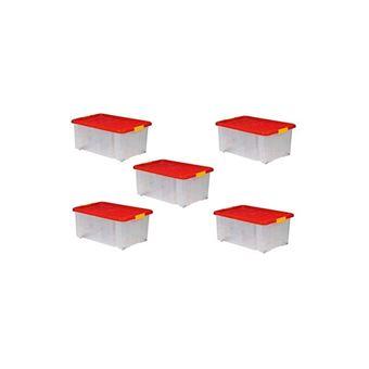 lot de 5 boites de rangement plastique transparente sur roulette avec couvercle bac a super poser ou empiler 34l 60 x 40 x 18 cm