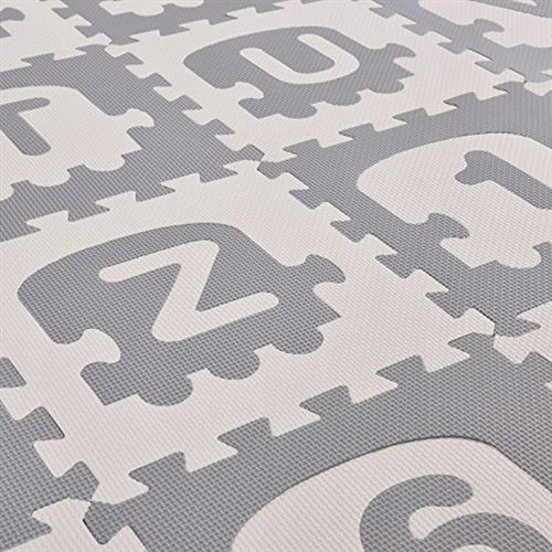 bimbe tapis d eveil puzzle 36 elements 180x180cm bebe enfant dalles sensorielles lettres mousse non toxique eva 30x30 blanc gris