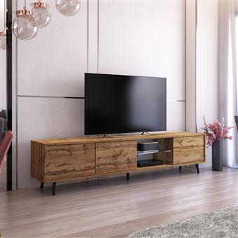 meuble tv meuble de salon galhad 175 cm chene wotan grande capacite de rangement eclairage led