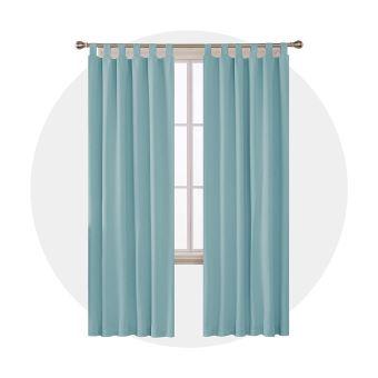 deconovo lot de 2 rideau isolant anti froid rideaux occultants thermiques chambre salon design moderne a pattes 107x242cm bleu ciel