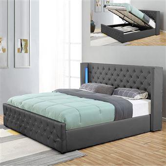 lit coffre design avec led osmos gris 160x200